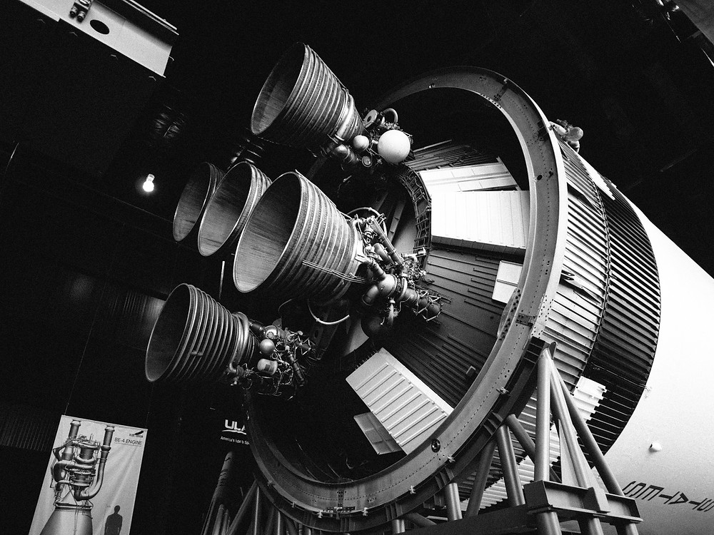 Saturn V stage 2 engines from an angle