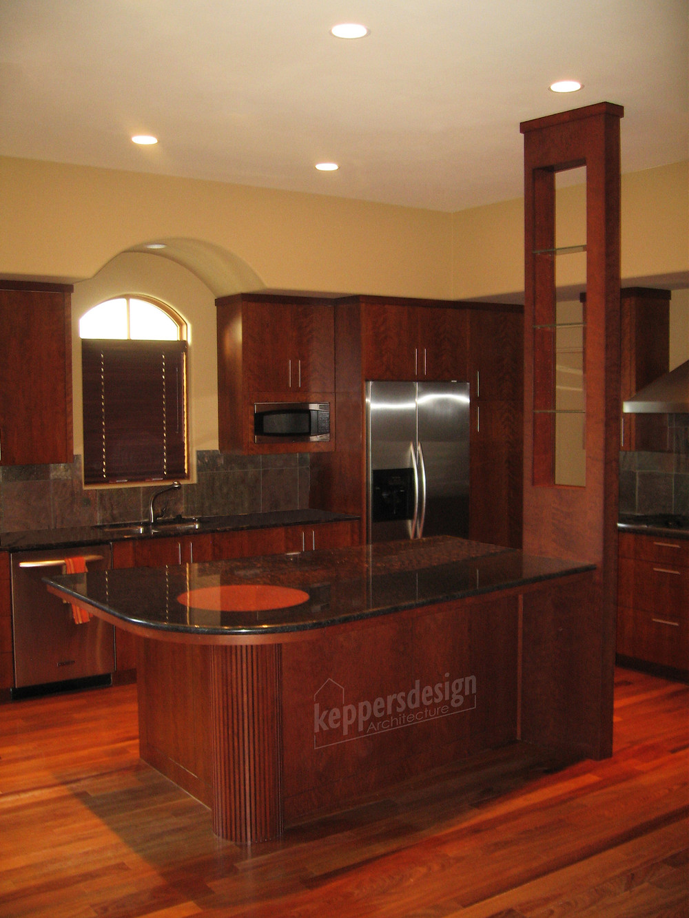 Kitchen Island, cherry, granite, knick-nack shelf