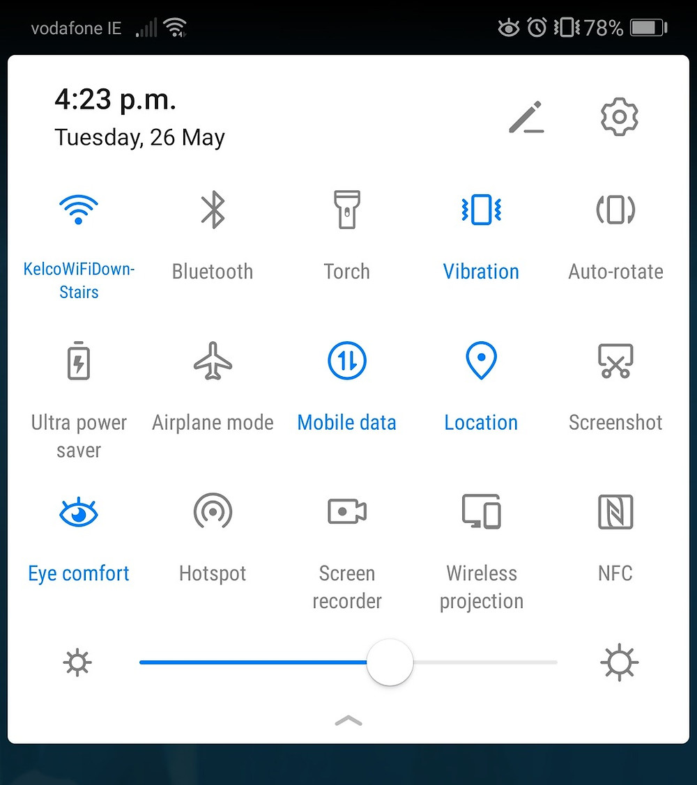 Android pull down menu