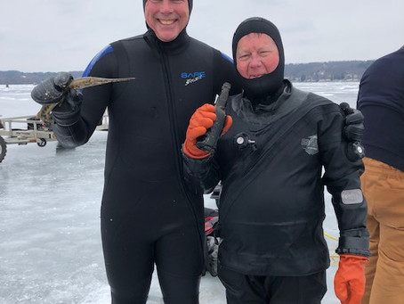 February 10th Ice Dive on Pewaukee Lake - Love in the air