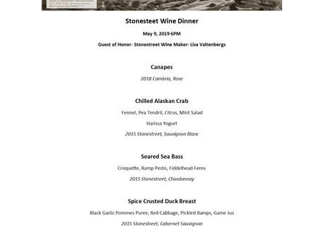 Stonestreet Wine Dinner, May 9 6PM