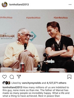 Stan Lee and Tom Holland (Source: @tomholland2013 Instagram)