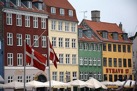 nyhavn Copenhagen Denmark flags dannebro