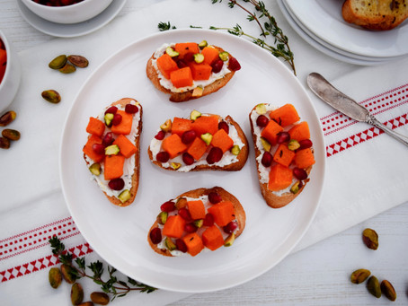 Butternut Squash Crostini with Herbed Goat Cheese