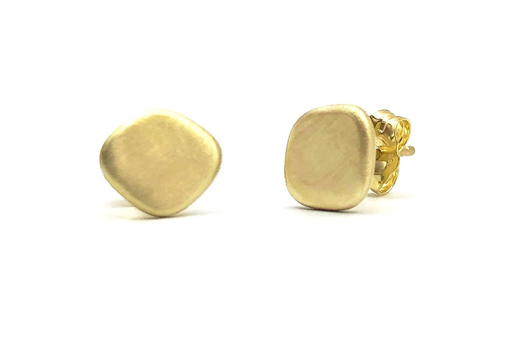 Azores Matte Gold Stud Earring in 18k Recycled Yellow Gold