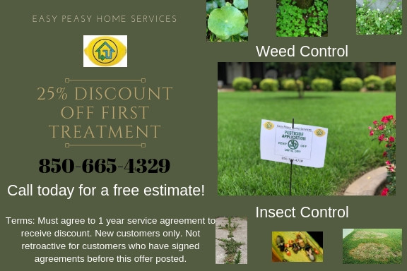 Weed control discount offer with description of terms
