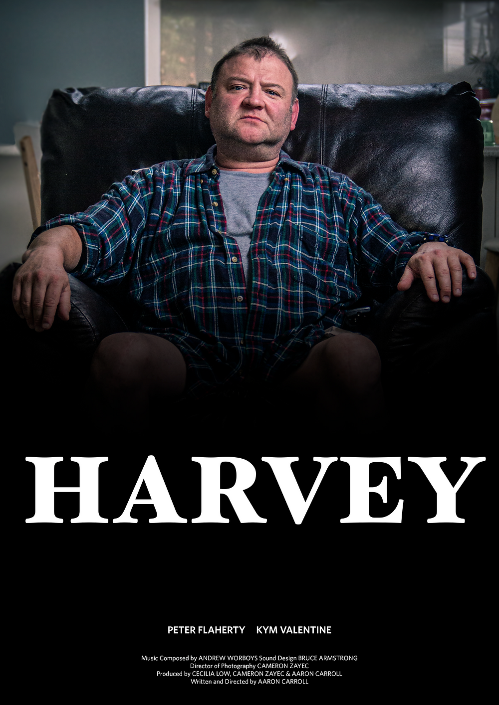 A man lounges on a chair in front of the television. White text reads 'Harvey.'