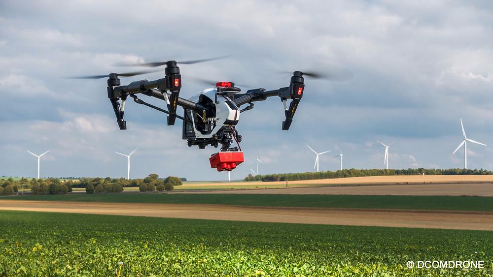 Agriculture de précision - Drone DJI Inspire 1 équipé de la caméra multi spectrale Micasense RedEdge M