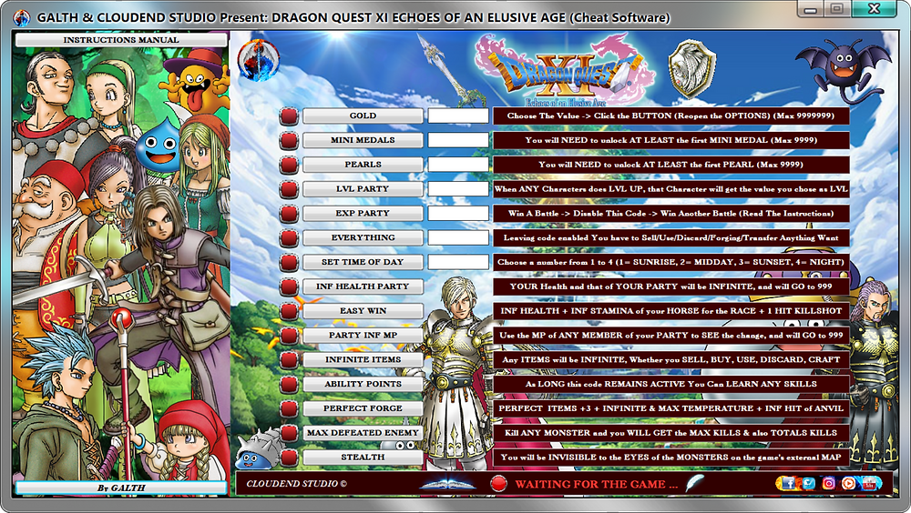cloudend studio, galth, Dragon Quest XI Echoes Of An Elusive Age, square enix, cheat, trainer, code, mod, software, steam, pc, youtube, google, facebook, cheat engine, cheat table, free, script, tool, gameplay, game, dlc, unlock, 100%, best weapon, items, rpg, all trophy, achievements, gold, infinite health, exp, skills, max lvl, invincible, dragon quest, perfect forge, mini medals, stealth, perls, video game, gaming, draconian quest flags, ign, game source, multiplayer, eurogamer, gamesurf, tricks, engaños, トリック, 騙します, betrügen, trucchi, complete guide