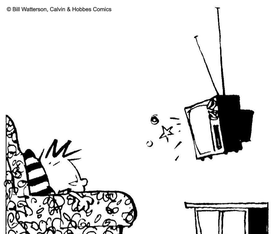 calvin watching tv from calvin & hobbes comics