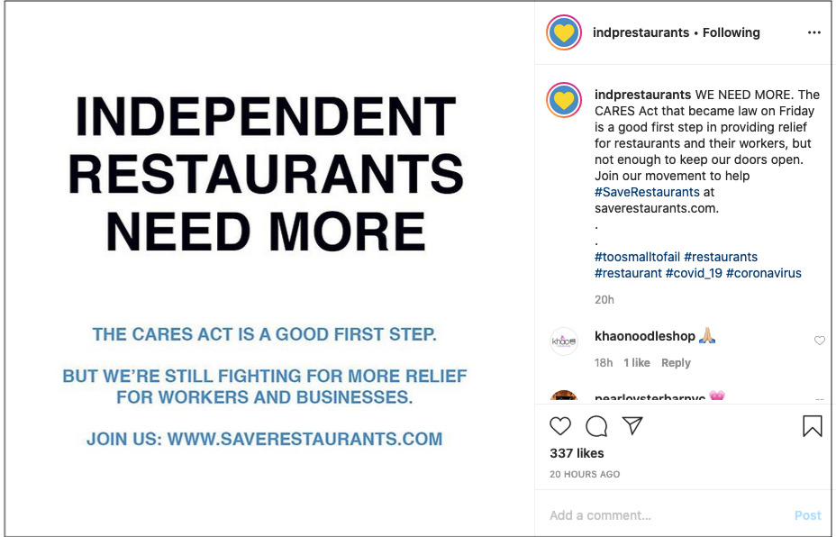 Instagram post for Independent Restaurant Coalition