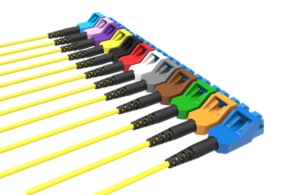 Various color configurations of the OFP secure LC connector