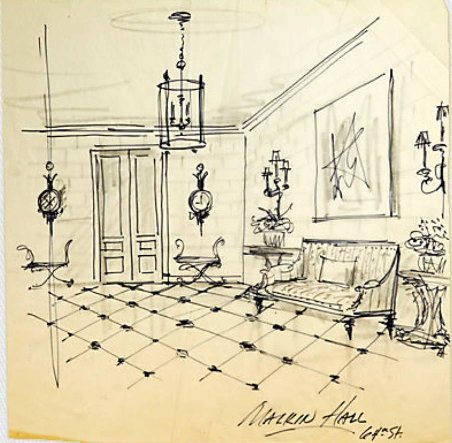 Entry Hall, inviting space, inviting entry, entry sketch, design, entry hall design, Albert Hadley, Albert Hadley sketch, entry furniture, foyer, foyer design
