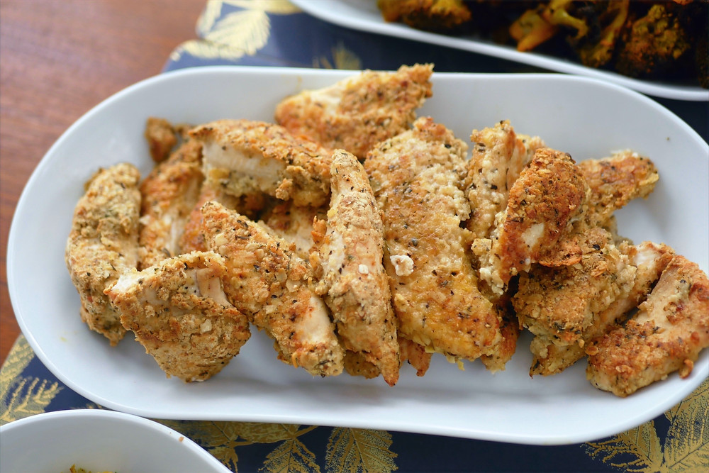 Oat baked chicken tenders with a herb crust.