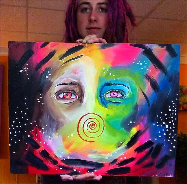 """Insanity"" 20"" x 24"" Canvas Board Acrylic Painting"