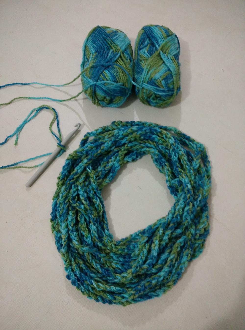 Chain stitch infinity scarf