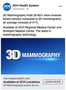 TotalCom Marketing's design for DCH 3D Mammography social media