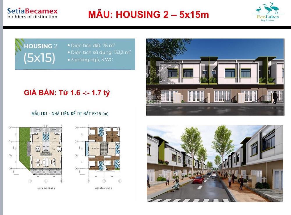 Mẫu nhà Housing2 Ecohome2 Ecolakes Mỹ Phước Bình Dương