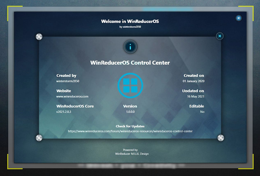 WinReducerOS Control Center Information Interface