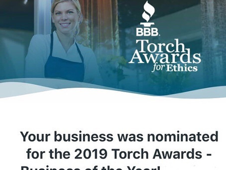We are nominated by BBB Torch Awards for Ethics to be a Business of the Year!