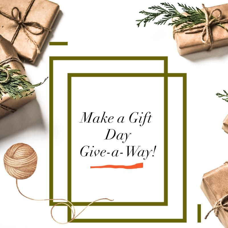 Holiday packages & yarn surrounding the words: Make a Gift Day Give-a-Way!