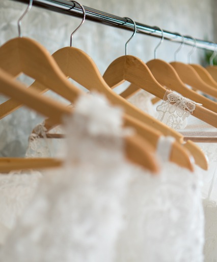 When it comes to a bridal suite, you can never have enough hangers.