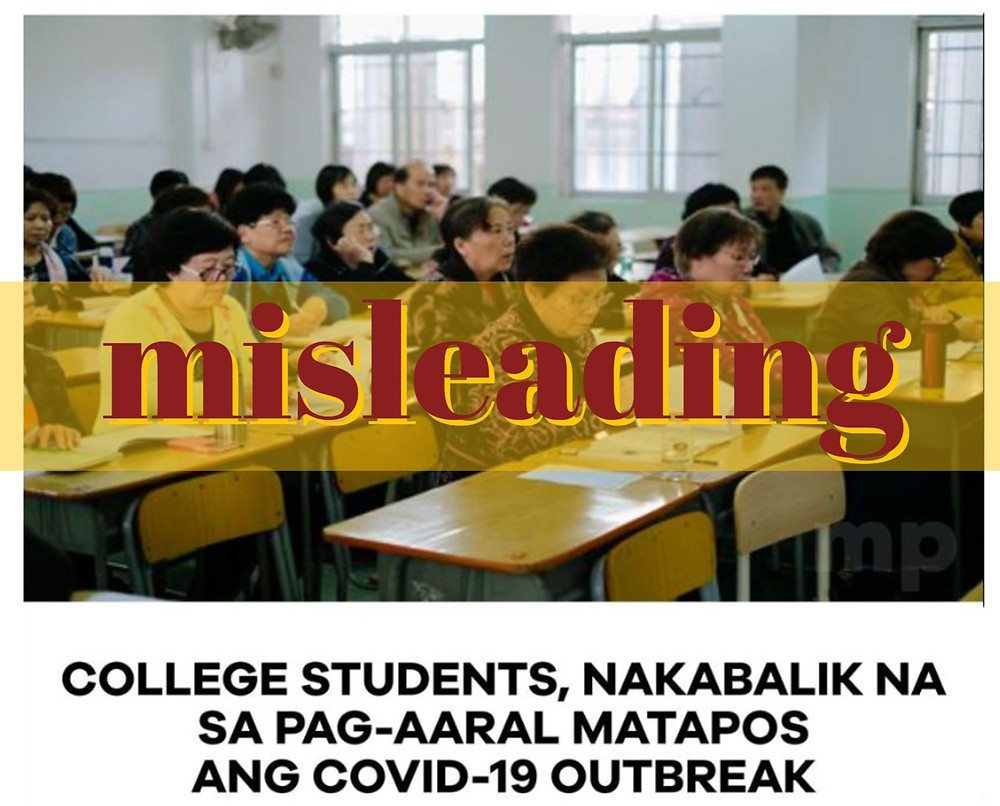 2017 photo of Chinese seniors attending college misused in a Facebook post that Filipinos are back in school after COVID-19 lockdown