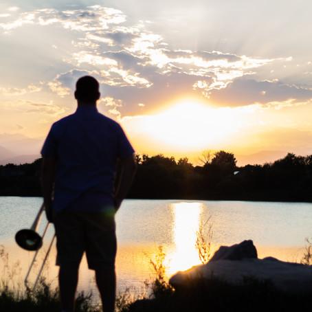 Trombone Sunset:  Jacob Senior Portraits at Waneka Lake