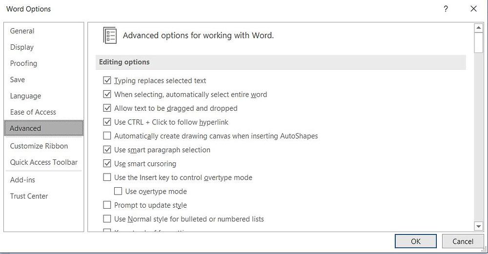 Следот на команди е File > Options > Advanced.