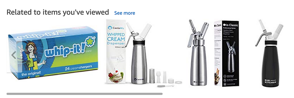 Amazon Whipped Cream Dispenser Product Suggestions and Listings