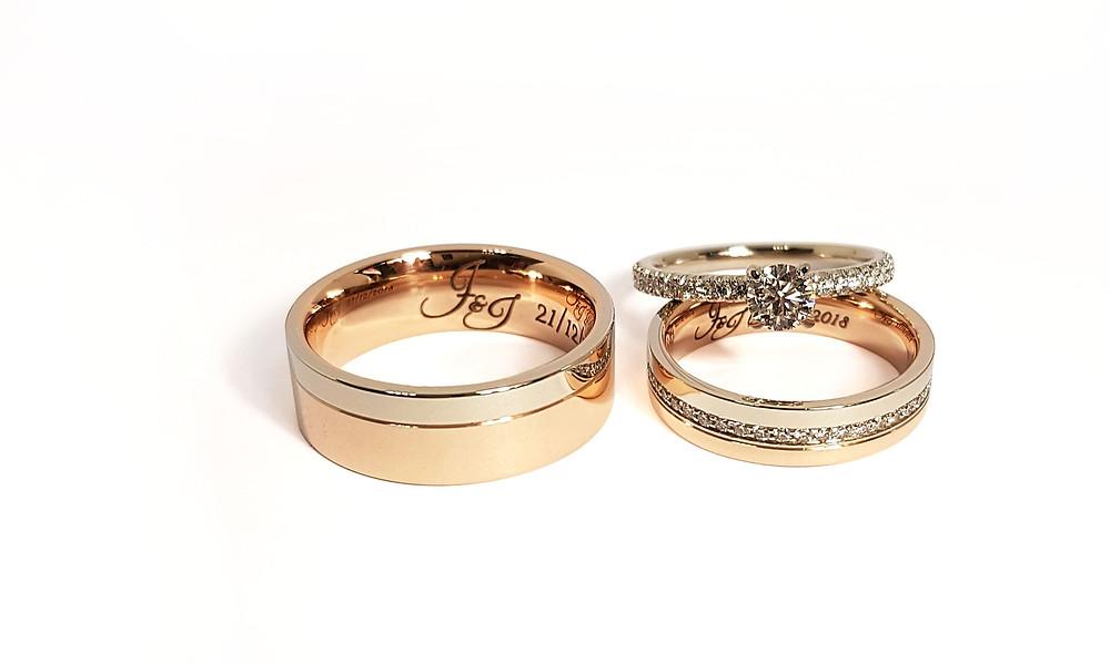Laulību un saderināšanās gredzena komplekts