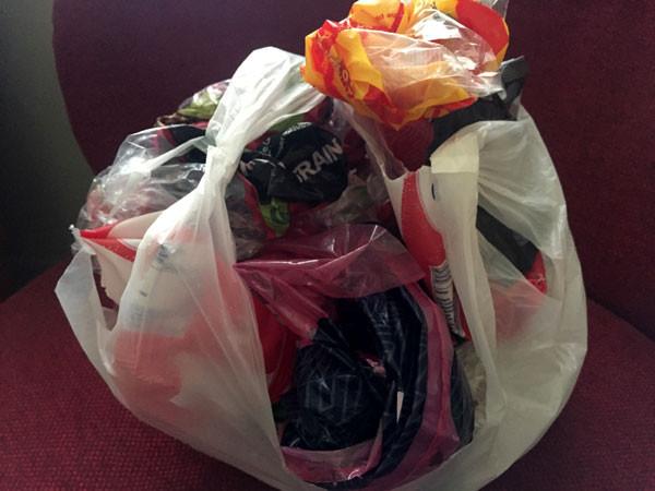 A bag of soft plastics for recycling