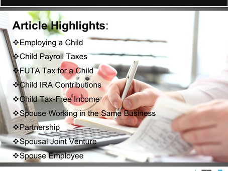 Tax Benefits for Holiday Family Employment