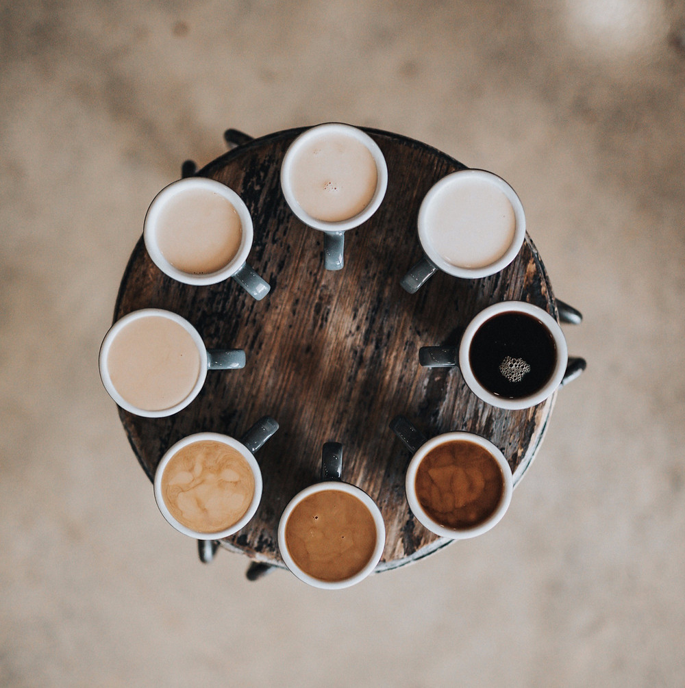 Coffee cups in circle from above