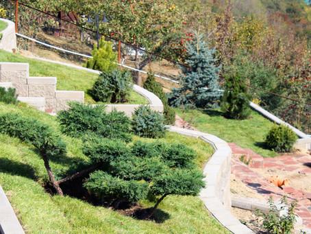 Сад на очень крутом склоне
