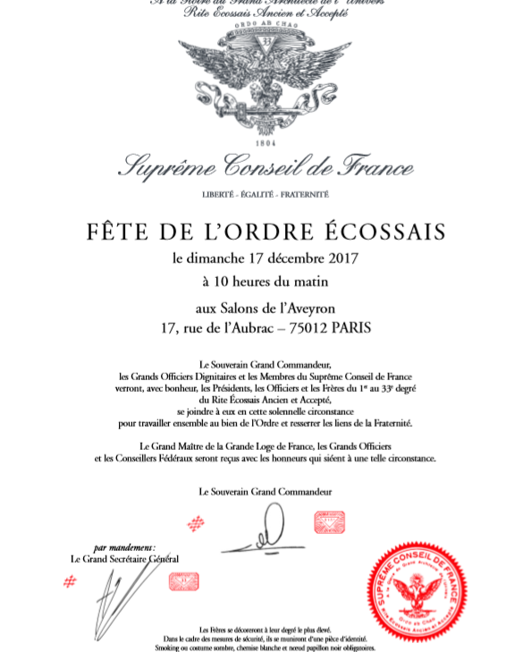 Franc-Maçonnerie - Convocatória da Festa Escocesa de 2017 | Suprême Conseil France