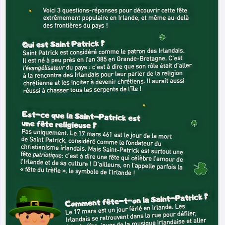 Mardi 17 mars : la Saint-Patrick