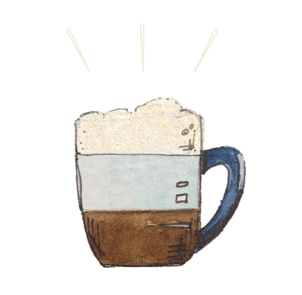 Latte watercolour illustration, RollingBear Travels blog.