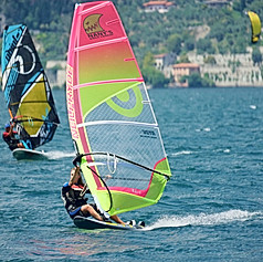 Surfing on the Lake Garda, Italy in summer of 2020