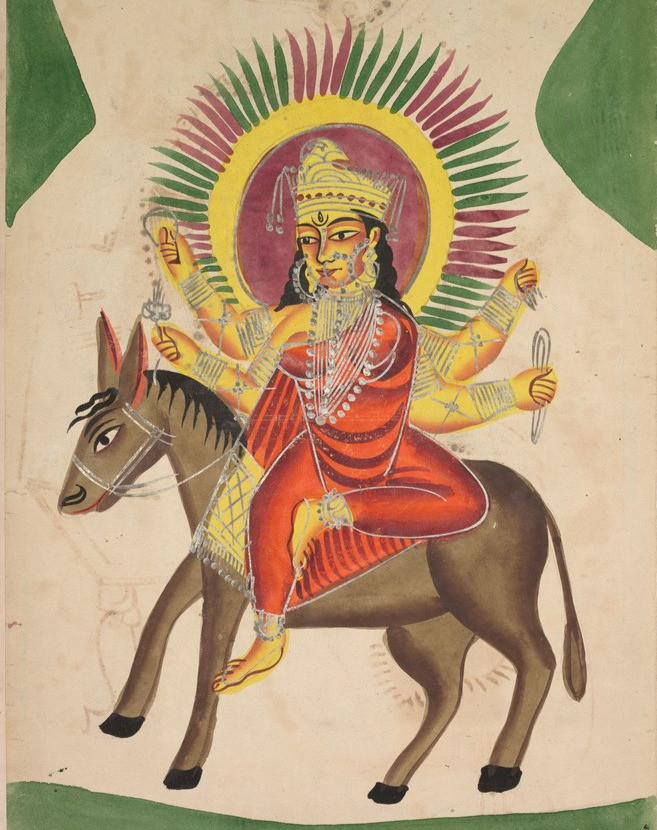 A painting of the goddess Sheetala sitting on the back of a donkey.