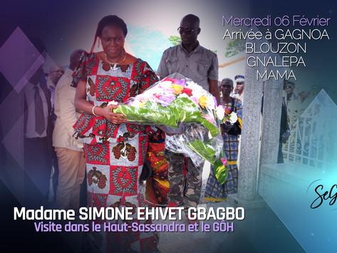 VISITE DE MADAME SIMONE EHIVET GBAGBO DANS LES RÉGIONS DU HAUT SASSANDRA DU GÔH : ARRIVEE A GAGNOA