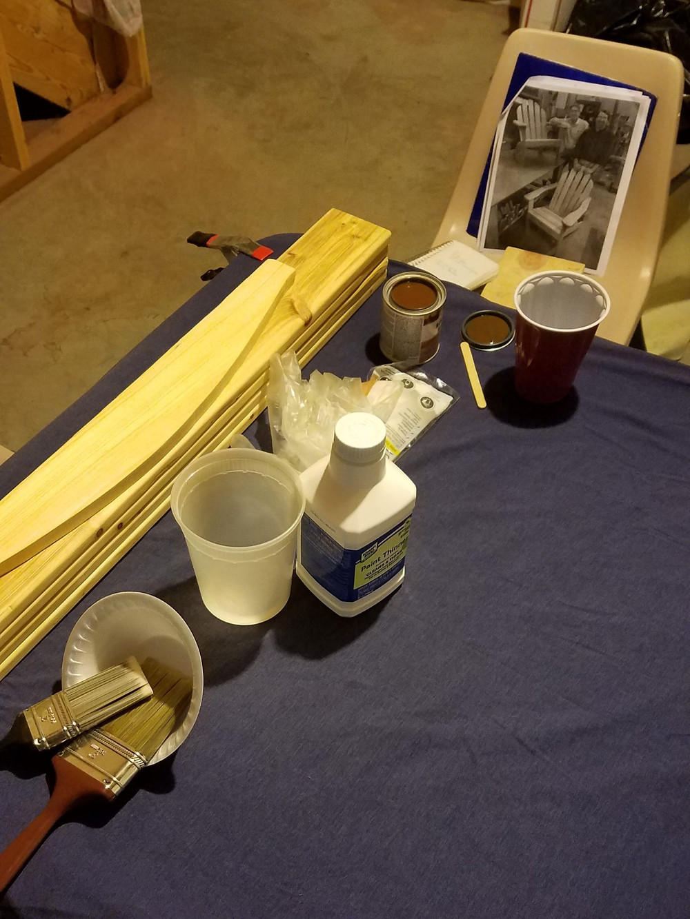work bench, paint stains, mineral spirits, Adirondack chair