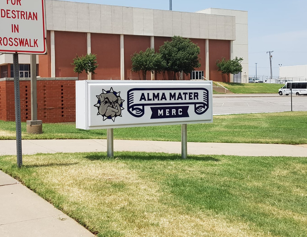 The sign for the new Alma Mater Merc store at the SWOSU campus Weatherford. Photo: Johannes Becht.