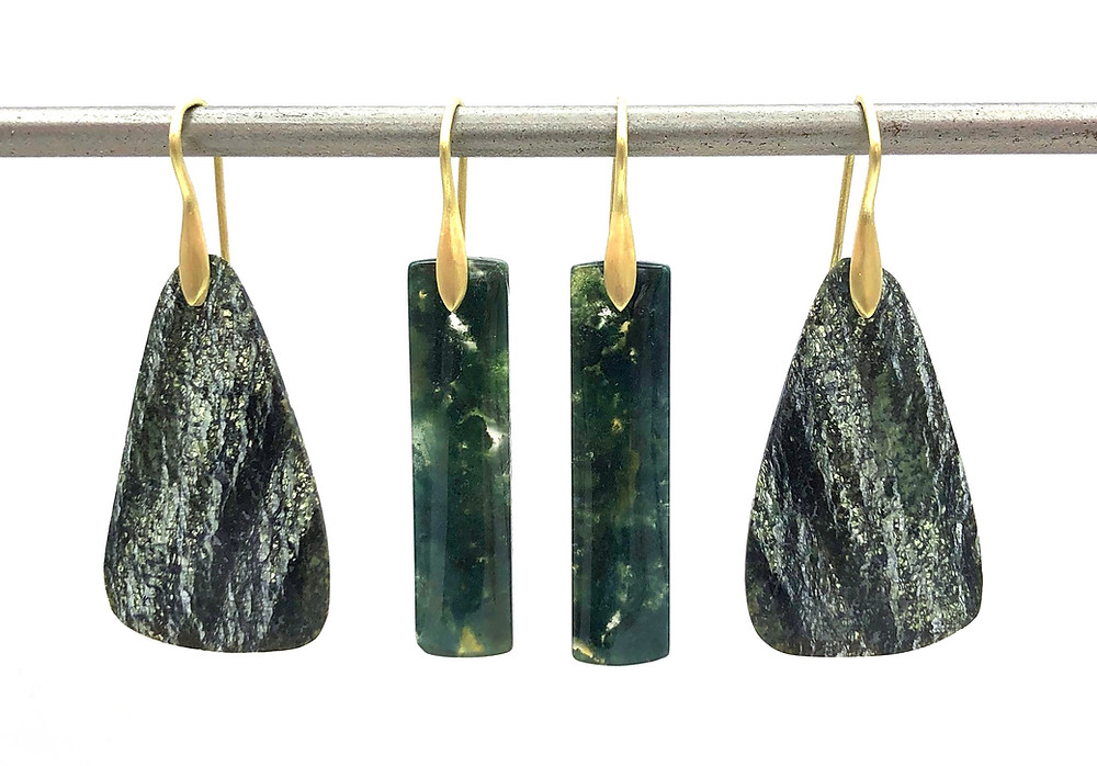 Chrysotile Earrings and Moss Agate Earrings | 18k Yellow Gold
