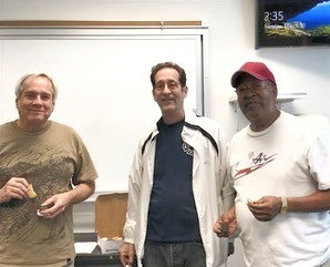 Bob, Andy and Jesse having a cookie after yoga. This was Andy's last class with us at the Martinez, VA before he embarked on a new chapter of his life in Florida. These 3 guys have been coming to yoga with me for close to 3 years. Jesse and Andy were taking yoga before I was teaching this class. I have heard that Jesse has a pretty solid home practice that he is using to get through this period of physical isolation. Yoga is for all of us.