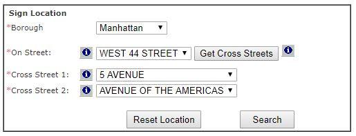 New York City DOT street parking signs