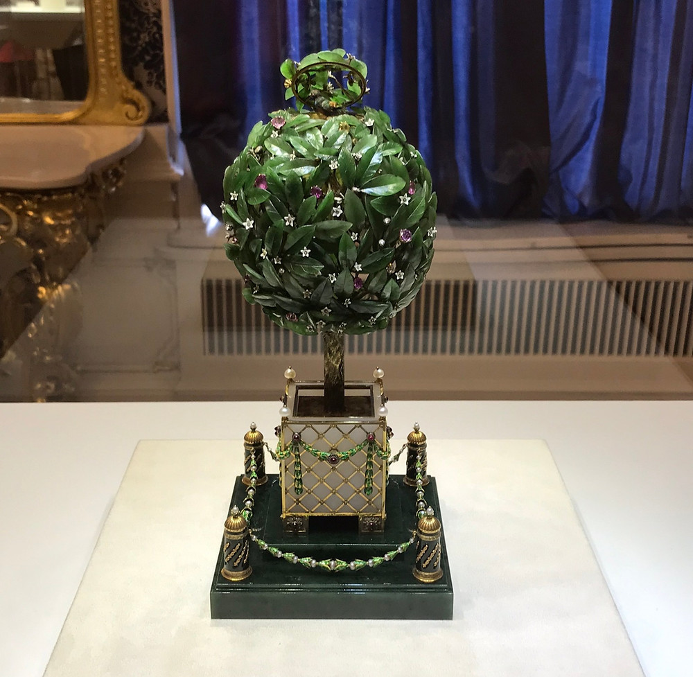 Tree shaped Faberge egg in the Faberge Museum st petersburg russia