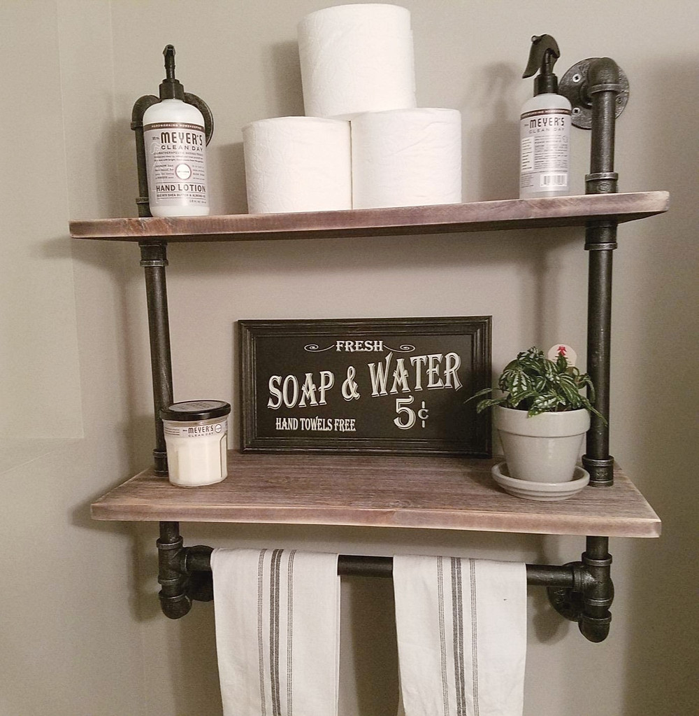 rustic wall shelf with pipes and wood