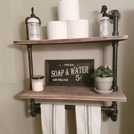 Industrial Pipe And Wood Bathroom Wall Shelf With Towel Bar