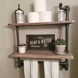 Industrial Pipe And Wood Bathroom Wall Shelf With Towel Bar